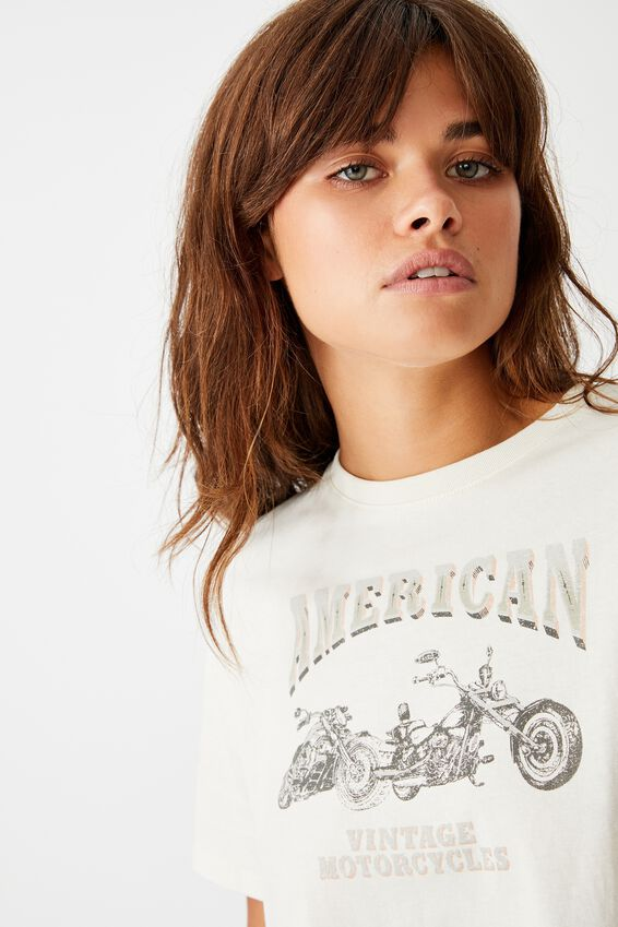 Short Sleeve Raw Edge Crop T Shirt, WASHED IVORY/AMERICAN CYCLES