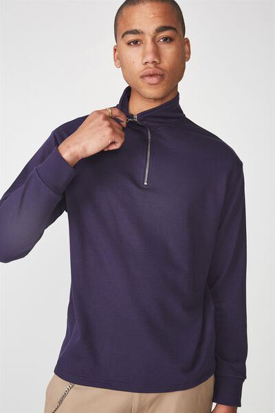 Qtr Zip Funnel Neck Top, ECLIPSE
