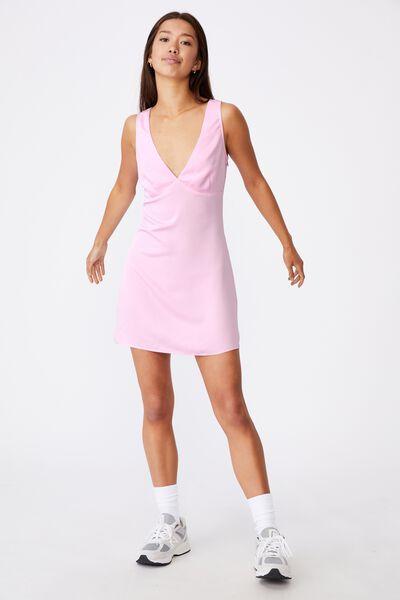 Deep V Mini Dress, BABE PINK
