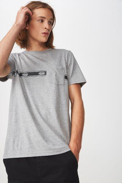 Worldwide Pocket T Shirt., GREY MARLE/GLOBE STRIPE