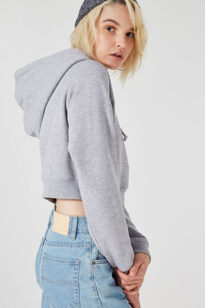 Micro Pocket Cropped Hoodie, GREY MARLE_PURPLE POTION