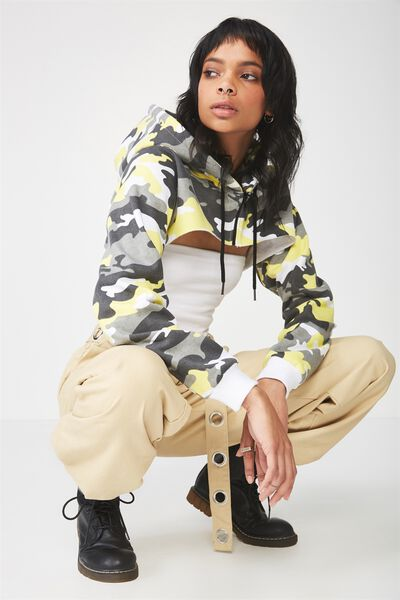 Chunky Zip Extreme Crop Hoodie, SNOW CAMO YELLOW