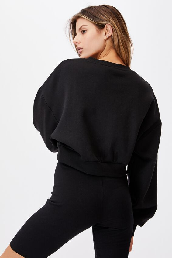 Boxy Crop Crew, BLACK