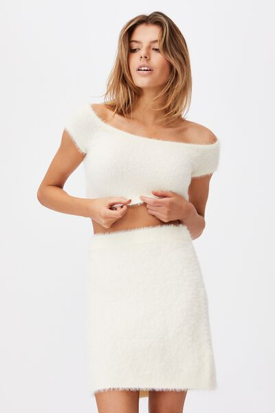 Fluffy Knit Off The Shoulder Top, IVORY