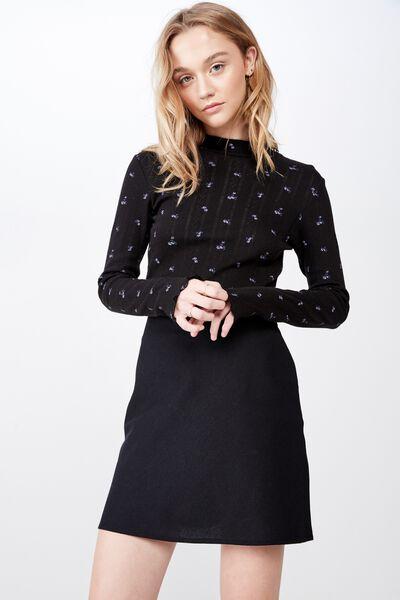 A Line Check Skirt, BLACK 2