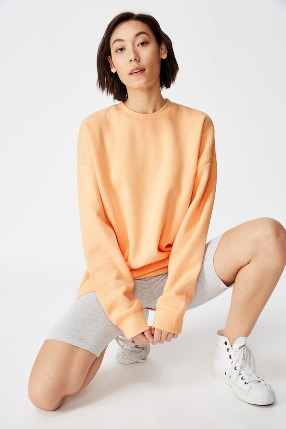 Oversized Crew Neck Sweater, APRICOT SORBET