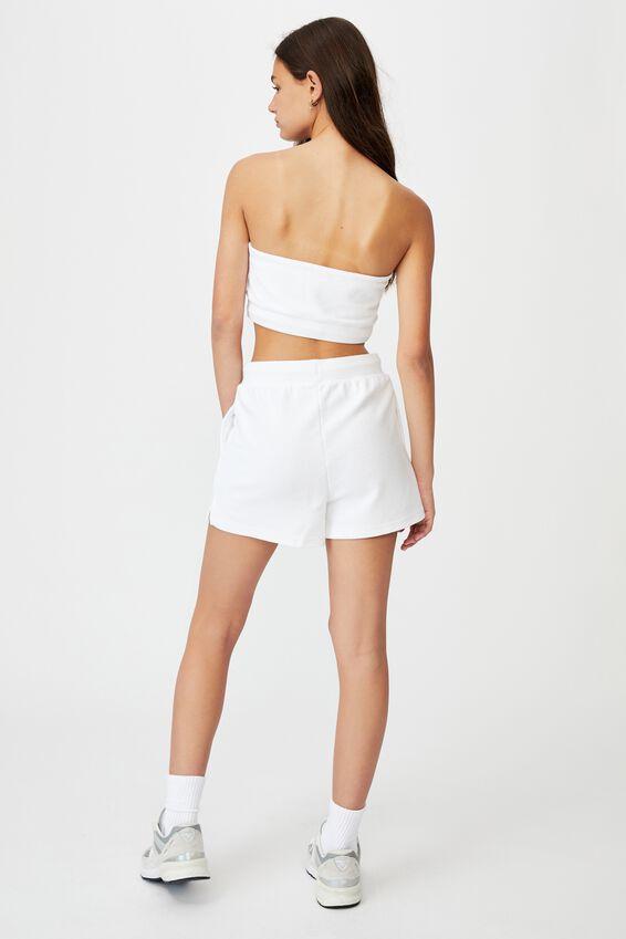 Reverse Fleece Short, WHITE