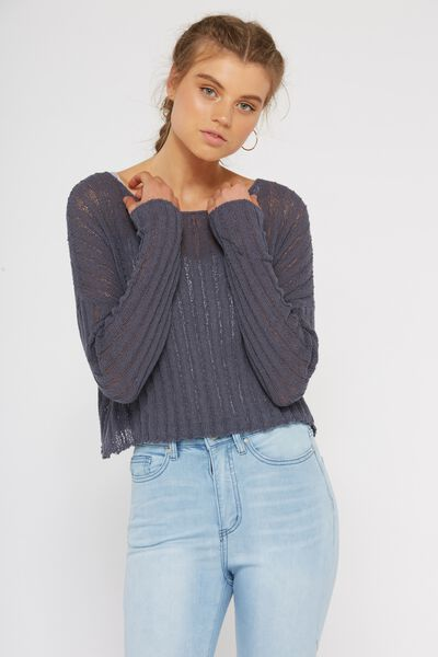 Rachel Ribbed Crop Knit, GRISAILLE