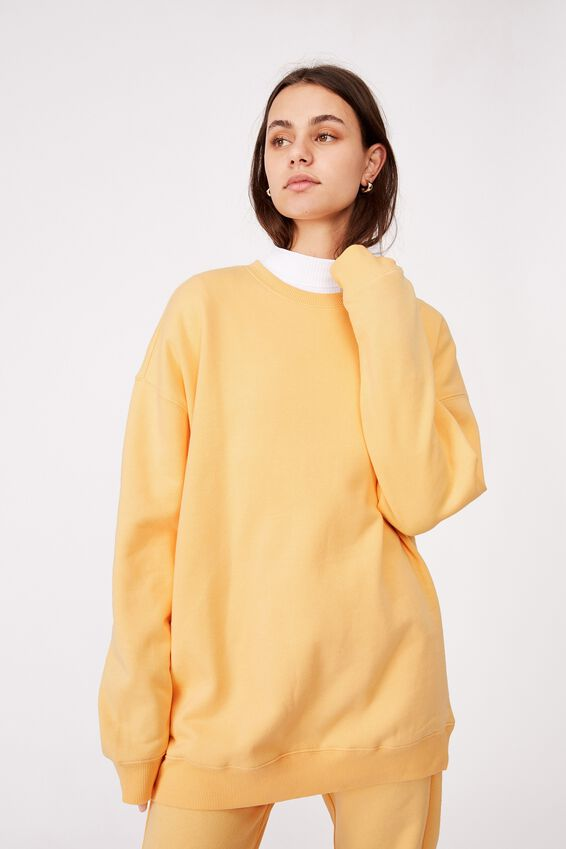 Oversized Crew Neck Sweater, SUNBURST