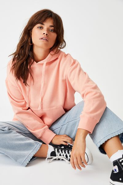 Relaxed Hoodie, CORAL PINK