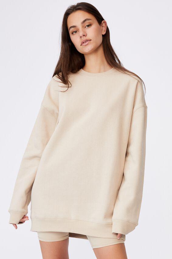 Oversized Crew Neck Sweater, HUMUS