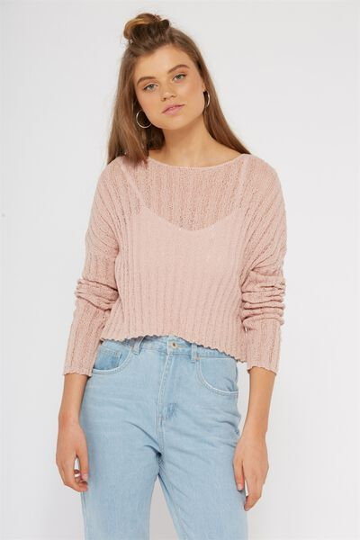 Rachel Ribbed Crop Knit, CHALK PINK