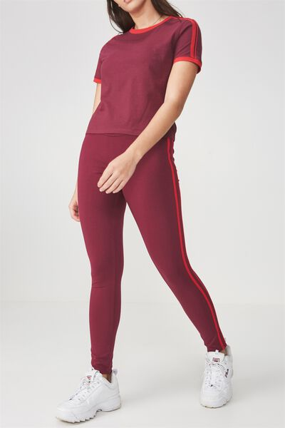 Stripe Legging, PURPLE POTION/RED