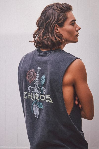 Graphic Muscle Tank, WASHED BLACK/CHAOS SWORD