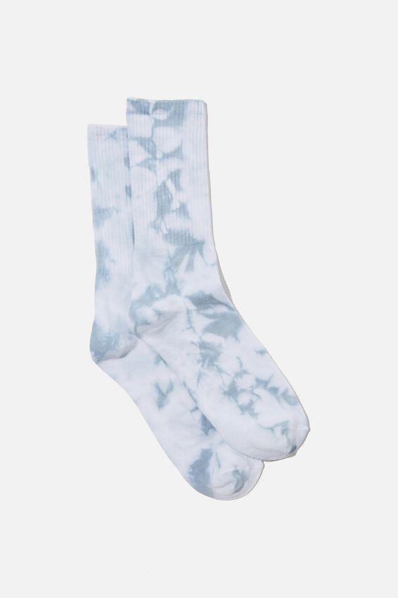 Retro Ribbed Socks, LIGHT BLUE TIE DYE