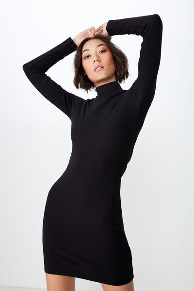 98979f01e40c Rib Roll Neck Long Sleeve Dress