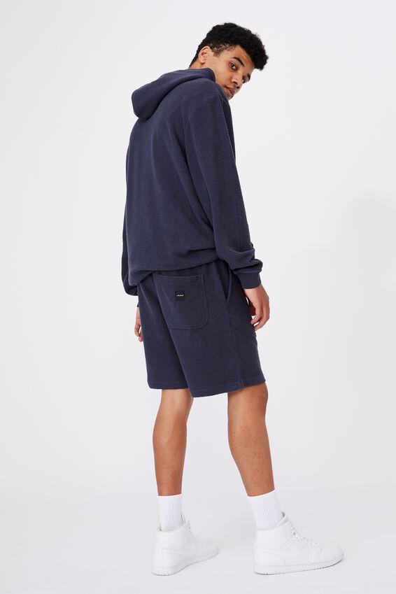 Reverse Fleece Track Short, WASHED INDIGO