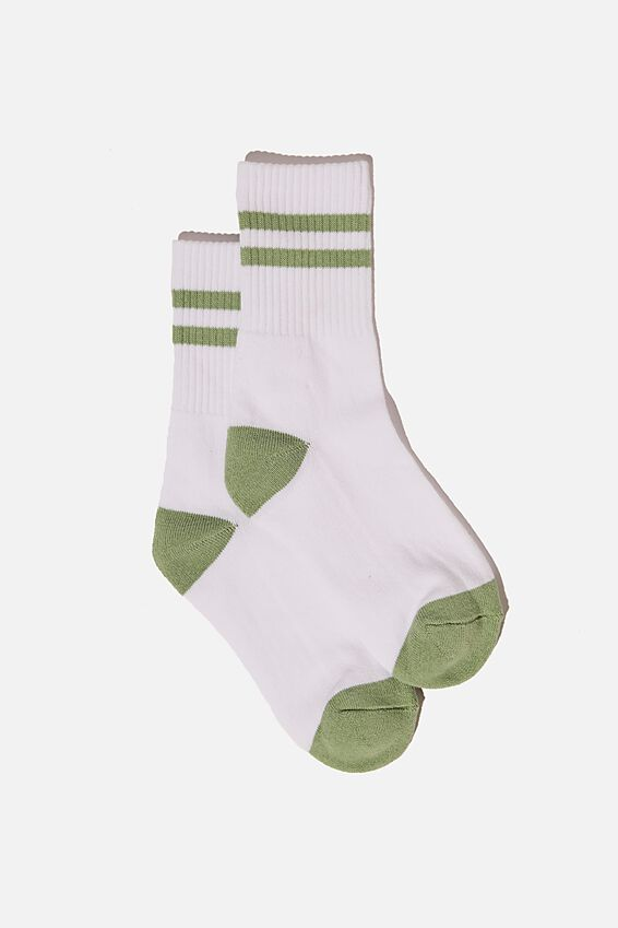 Retro Sport Sock, WHITE CELADON GREEN STRIPE