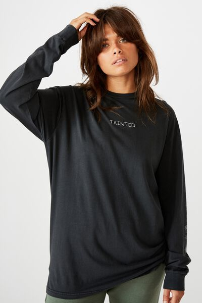 Oversized Ls Graphic Tee, WASHED BLACK/TAINTED ROSE