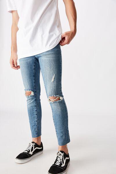 Raw Hem Skinny Leg Jean, BRIGHT INDIGO