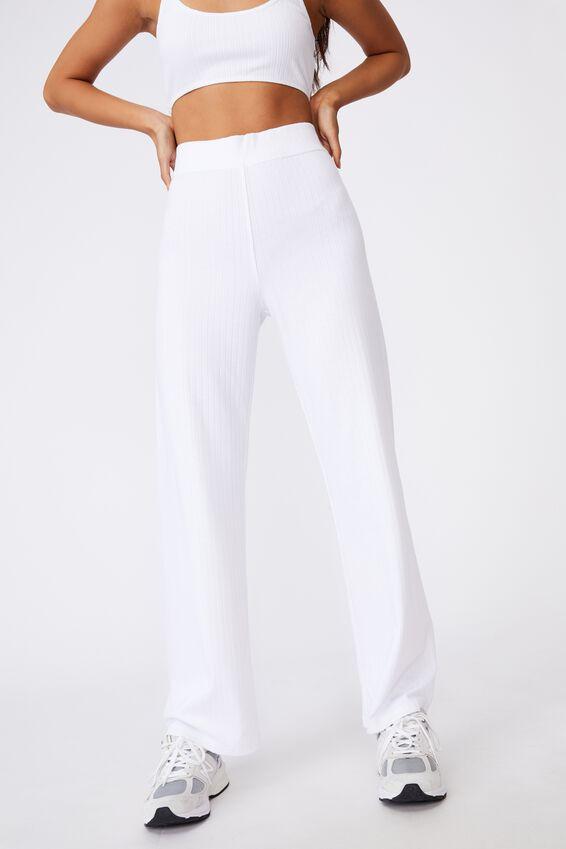 Rib Pull On Pant, WHITE