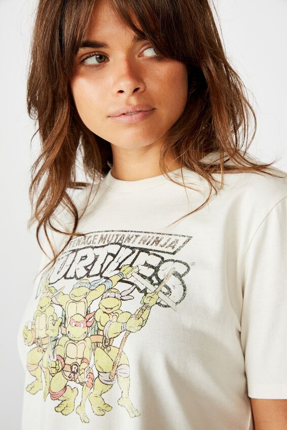 Lcn Raw Edge Graphic T Shirt, WASHED IVORY/TMNT GROUP
