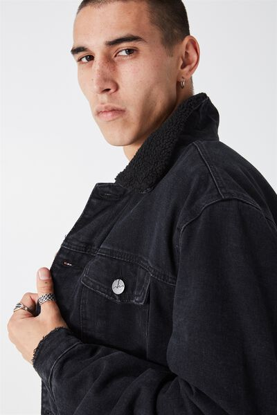 The Denim Sherpa Jacket, WASHED BLACK