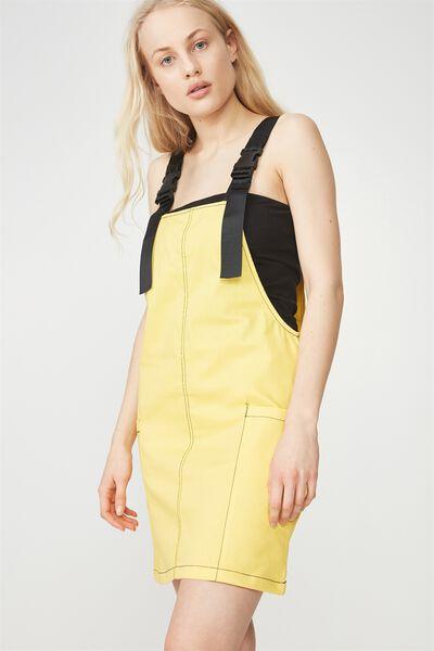 Contrast Stitch Overall Dress, DANDELION_BLACK STITCH
