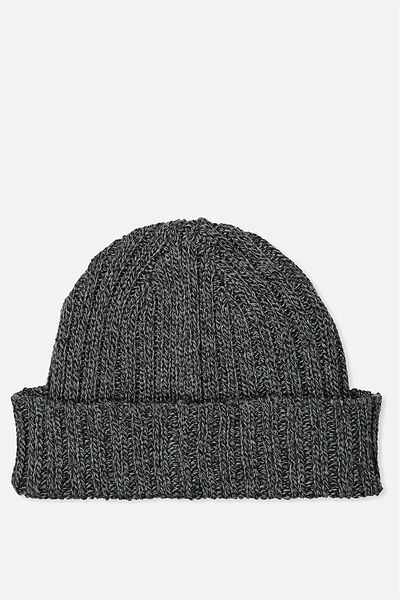 Fishermans Beanie, CHAR/BLACK MARLE