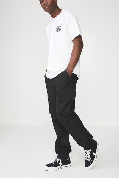 Straight Leg Cargo Pants, BLACK