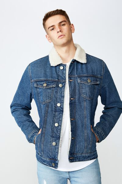 Denim Sherpa Jacket, INDIGO