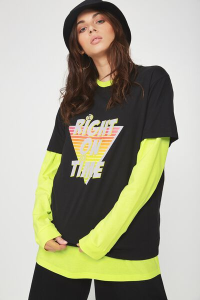 Short Sleeve Classic Tee, BLACK_RIGHT ON TIME