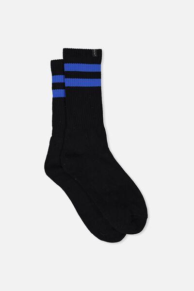 Retro Ribbed Socks, BLACK_COBALT STRIPE