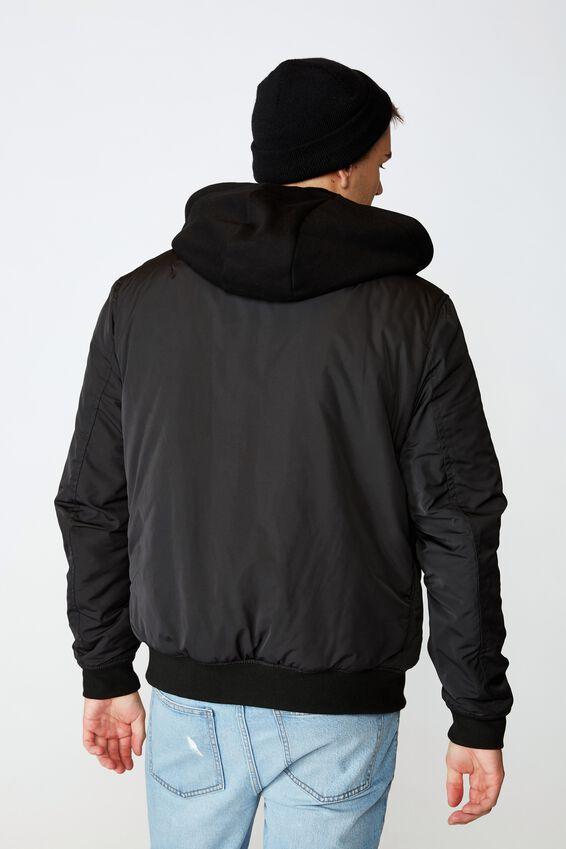 Reversible Hooded Bomber, BLACK