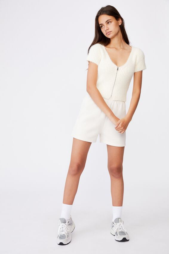 Fluffy Knit Short Sleeve Zip Cardi, IVORY