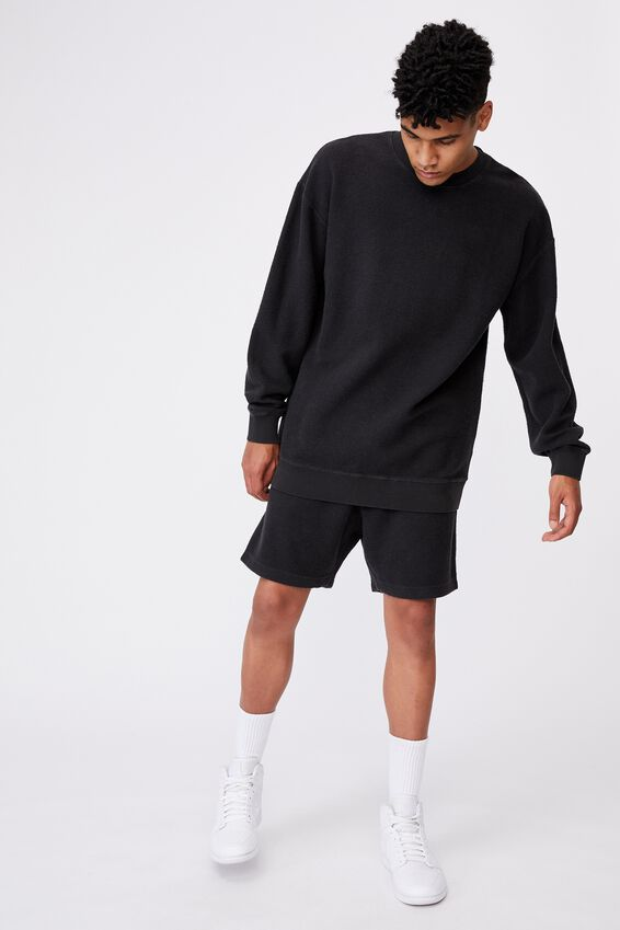 Reverse Fleece Track Short, WASHED BLACK