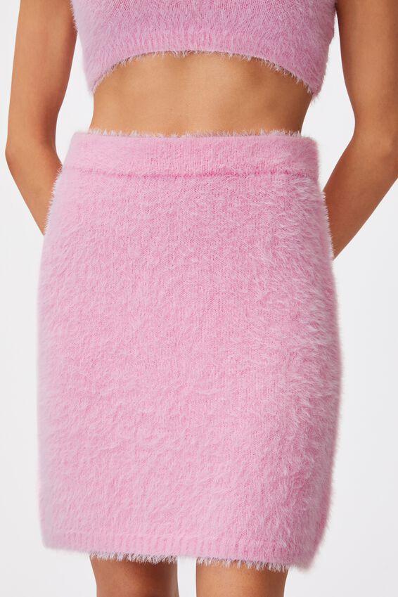 Fluffy Knit Mini Skirt, BABE PINK