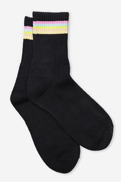 Retro Sport Sock, MULTI STRIPE_BLACK