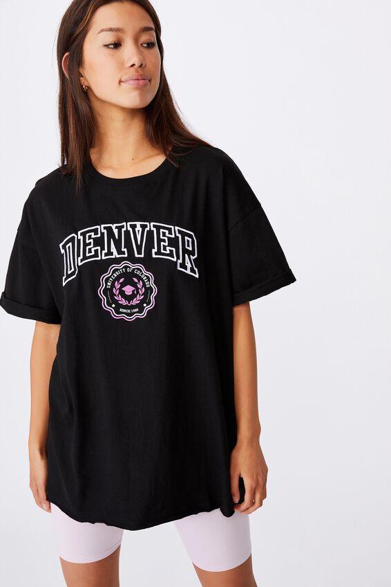Oversized Graphic T Shirt, BLACK/DENVER