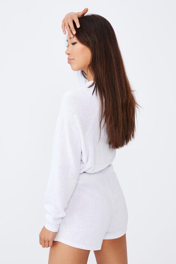 Textured Jersey Toggle Hem Ls Tee, WHITE