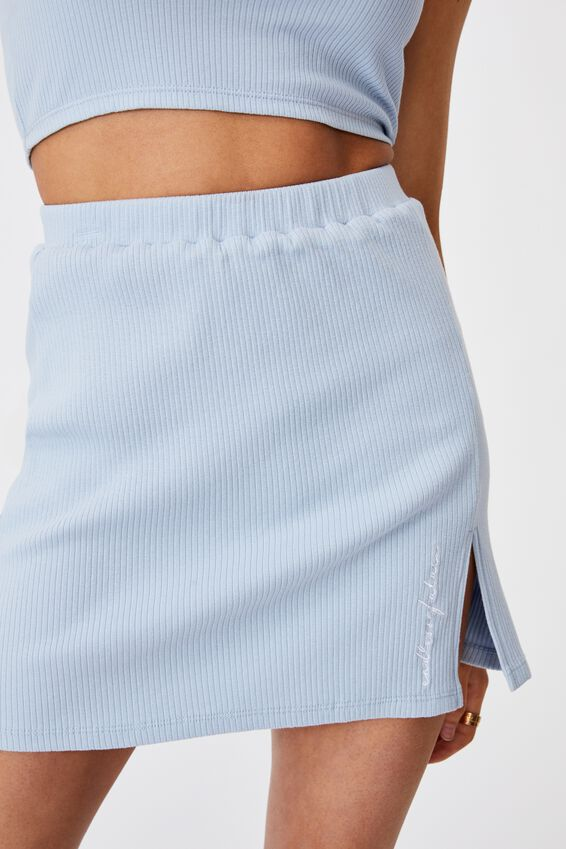 Rib Side Split Skirt, SKYWAY BLUE/ENDLESS FUTURE