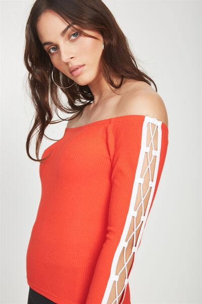 Long Sleeve Off The Shoulder Top, FIREY RED_WHITE
