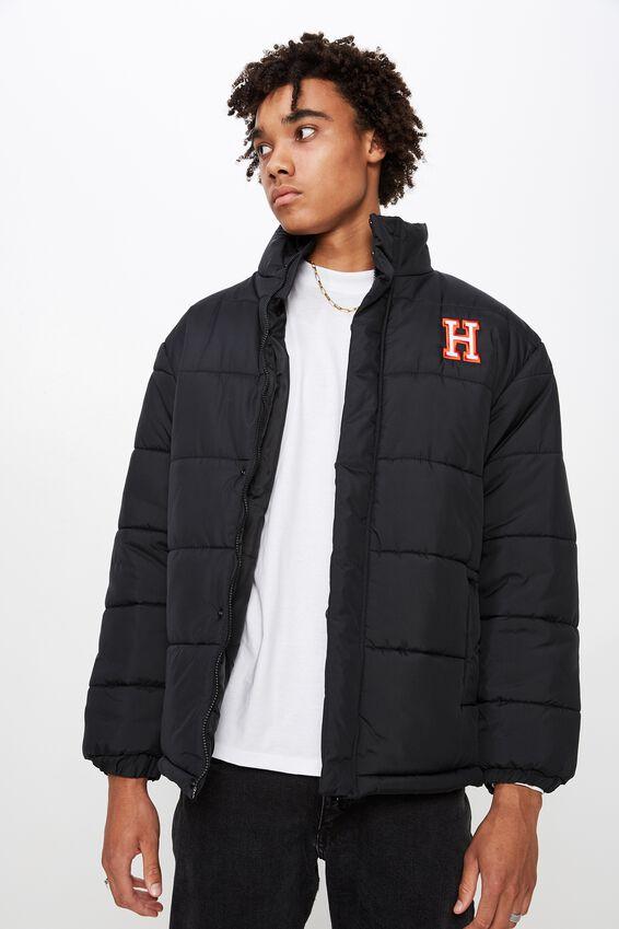 Personalised Mens Puffer Jacket, BLACK