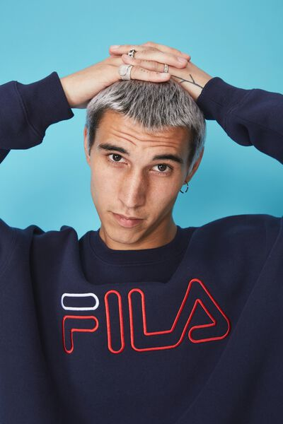 Fila Lcn Oversized Embroidered Crew, NAVY