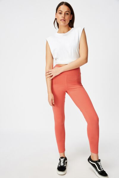 High Waisted Legging, SPICED CORAL