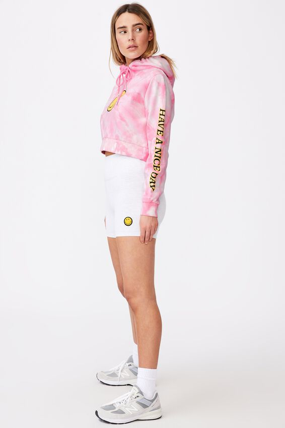 Smiley Classic Crop Graphic Hoodie, LCN SMI BABE PINK TIE DYE/HAVE A NICE DAY