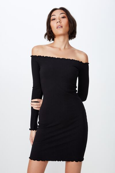 a06a20592c3 Rib Off Shoulder Dress