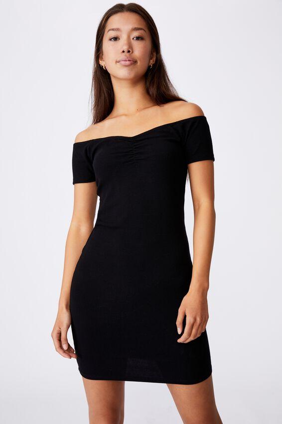 Rib Off Shoulder Dress, BLACK