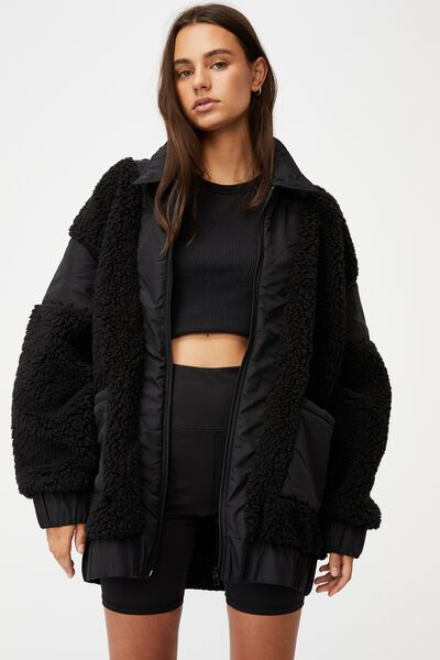 Oversized Teddy Jacket, BLACK