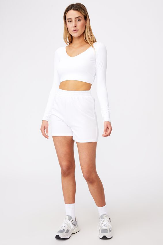Ls Open Back Ruched Top, WHITE